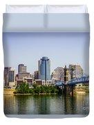 Cincinnati Skyline With Roebling Bridge Duvet Cover