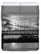 Cincinnati Suspension Bridge Black And White Duvet Cover by Mary Carol Story