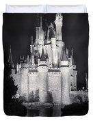 Cinderella's Castle Reflection Black And White Duvet Cover