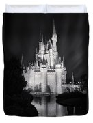 Cinderella's Castle Reflection Black And White Duvet Cover