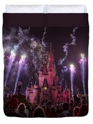 Cinderella's Castle With Fireworks Duvet Cover by Adam Romanowicz