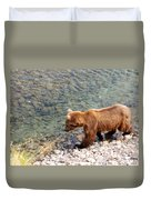Cinnamon-colored Grizzly Bear By Moraine River In Katmai Np-ak  Duvet Cover
