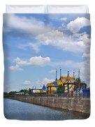Cirque De Soleil Tents Near Quays Along Saint Lawrence River In Montreal-qc Duvet Cover
