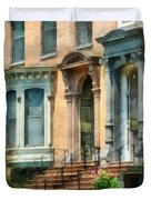 Cities - Albany Ny Brownstone Duvet Cover