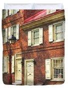 Cities - Philadelphia Brownstone Duvet Cover
