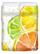 Citrus Fruit Watercolor Duvet Cover