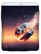 City Destroyed By Meteor Shower Duvet Cover