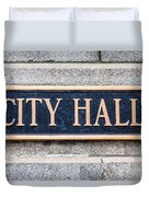 City Hall Municipal Sign In Chicago Duvet Cover by Paul Velgos
