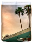 City Hall Sky Palm Springs City Hall Duvet Cover by William Dey