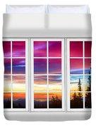 City Lights Sunrise View Through White Window Frame Duvet Cover