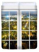 City Lights White Window Frame View Duvet Cover