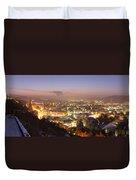 City Lit Up At Night, Esslingen Duvet Cover