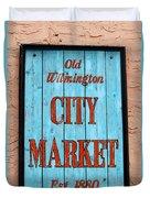 City Market Sign Duvet Cover