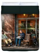 City - New York - Greenwich Village - The Path Cafe  Duvet Cover by Mike Savad
