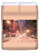 City Night In The Snow - New York City Duvet Cover
