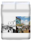 City - Ny - The Bowery 1900 - Side By Side Duvet Cover