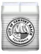 City Of Newport Beach Sign Black And White Picture Duvet Cover