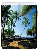 City Of Refuge - A View Of A Hawaiian Traditional House  Duvet Cover