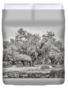 City Park Giants - Paint Bw Duvet Cover