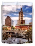 City - Providence Ri - The Skyline Duvet Cover by Mike Savad