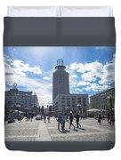 City Square In Stockholm Duvet Cover