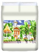 City Square In Watercolor Duvet Cover