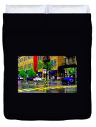 City Street Relections In The Rain Quebec Art Colors And Seasons Montreal Scenes Carole Spandau Duvet Cover