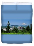 City With Mt. Hood In The Background Duvet Cover