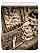 Civil War Shaving Mug And Razor Black And White Duvet Cover