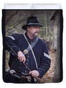 Civil War Union Soldier Reenactor Loading Musket Duvet Cover