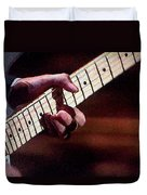 Clapton Playing Guitar - Watercolor Painting Duvet Cover