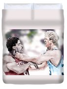 Clash Of The Titans 1984 - Bird And Doctor  J Duvet Cover by Reggie Duffie