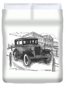Classic Auto With Mills Mansion Duvet Cover