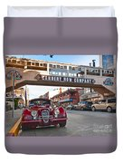 Classic Cannery Row - Monterey California With A Vintage Red Car. Duvet Cover
