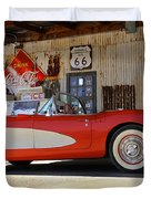 Classic Corvette On Route 66 Duvet Cover