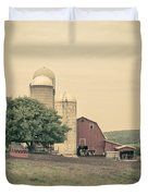 Classic Farm With Red Barn And Silos Duvet Cover
