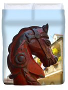 Classic Red Horsehead Post Duvet Cover