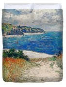 Claude Monet's Path In The Wheat Fields At Pourville-1882 Duvet Cover