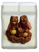 Clay Owl Family Duvet Cover