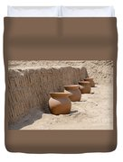 Clay Pots At Huaca Pucllana In Lima Peru Duvet Cover