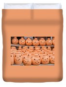 Clay Pumpkins Standing Happy Near The Wood Fence Duvet Cover