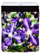 Clematis On A Stone Wall Duvet Cover