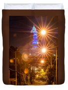 Cleveland Downtown Street View At Night Duvet Cover