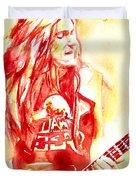 Cliff Burton Playing Bass Guitar Portrait.1 Duvet Cover