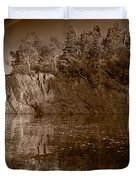 Cliff Face Northshore Mn Bw Duvet Cover