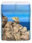 cliff in San Pietro island Duvet Cover