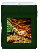 Cliff Rocks And Waterfall Duvet Cover