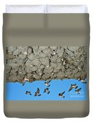 Cliff Swallows Returning To Nests Duvet Cover