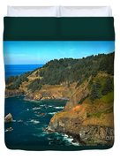 Cliffs At Cape Foulweather Duvet Cover by Adam Jewell