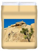 Climber At Quail Springs In Joshua Tree Np-ca Duvet Cover